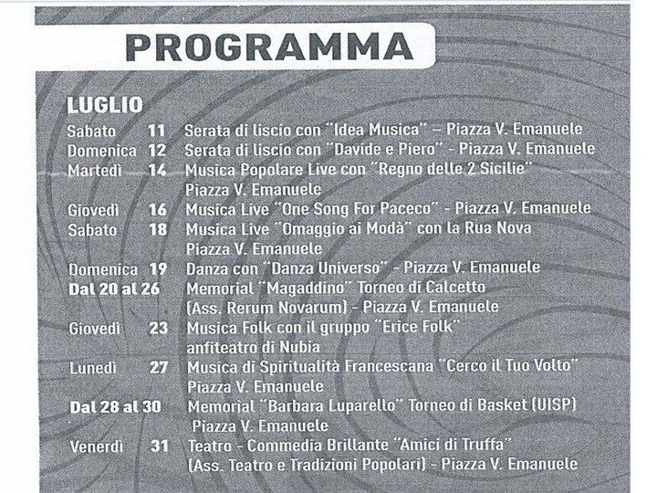 programma luglio 2015
